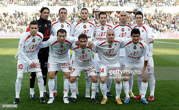The Mallorca team lineup before the start of the La Liga match between Getafe and Mallorca at Coliseum Alfonso Perez on March 13 2010 in Getafe Spain