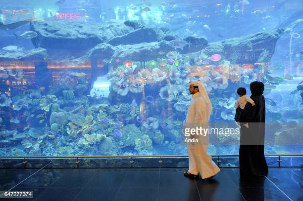 The Mall's Dubai Aquarium and Discovery Centre inside the Dubai Mall in Dubai a huge shopping mall with a leasable space of 377 million square feet