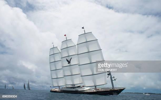 TOPSHOT The Maltese Falcon competes in the America's Cup Superyacht Regatta June 15 2017 in Hamilton Bermuda Racing in the 35th America's Cup is...