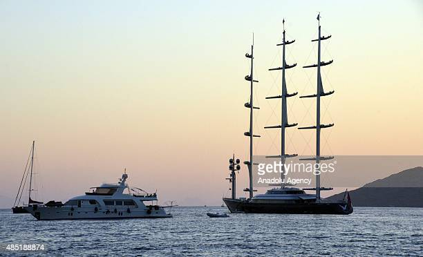 The Maltese Falcon which at 289 feet is the largest private sailboat in the world owned by Greek businesswoman Elena Ambrosiadou is seen on the...