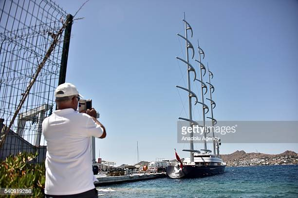 The Maltese Falcon which is one of the largest private yatch in the world with 289 feet owned by Greek businesswoman Elena Ambrosiadou is seen...
