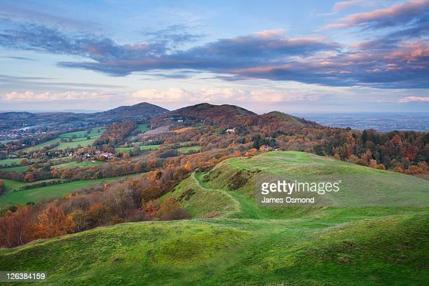 the malvern hills in autumn from herefordshire beacon. herefordshire and worcestershire. england. uk. - worcestershire stock pictures, royalty-free photos & images