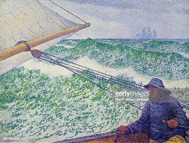 The Man at the Tiller Painting by Theo van Rysselberghe 1892 06 x 08 m Orsay Museum Paris