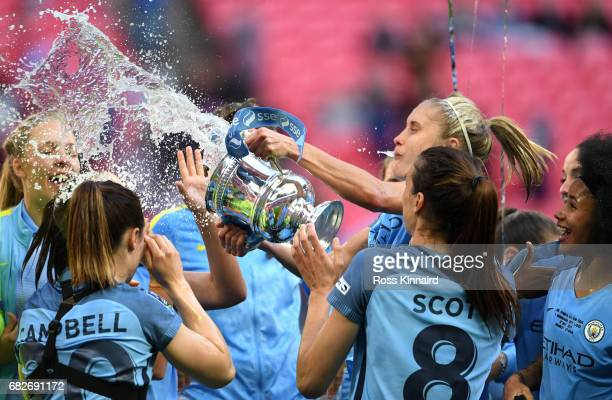 The Man City Ladies celebrate with the trophy after the SSE Women's FA Cup Final between Birmingham City Ladies and Manchester City Women at Wembley...