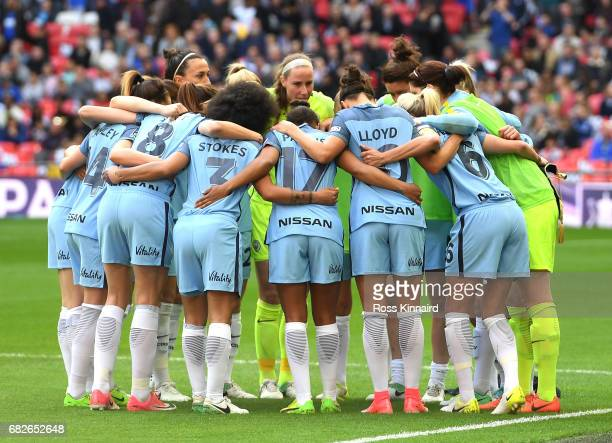 The Man City Ladies team craete a huddle prior to the SSE Women's FA Cup Final between Birmingham City Ladies and Manchester City Women at Wembley...