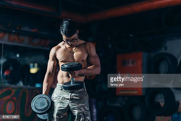 The man excercising
