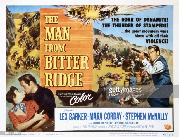 The Man From Bitter Ridge lobbycard from left Mara Corday Lex Barker Stephen McNally 1955