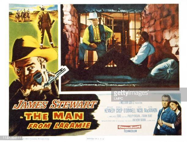 The Man From Laramie US lobbycard top from left Wallace Ford James Stewart bottom from left James Stewart Cathy O'Donnell 1955