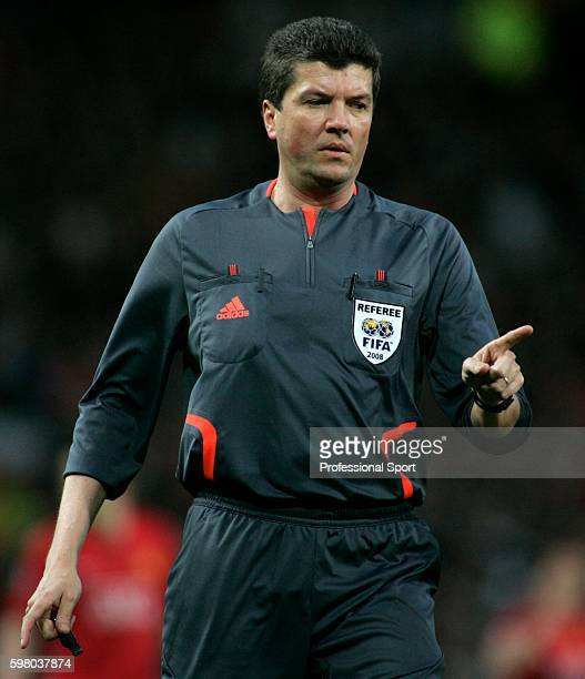 The man in charge referee Herbert Fandel during the UEFA Champions League Semi Final second leg match between Manchester United and Barcelona at Old...