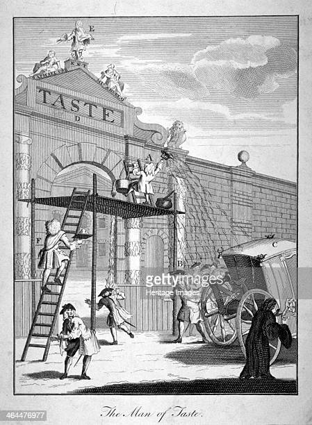 'The Man of Taste' 1731 Burlington Gate surmounted by a statue of William Kent brandishing a palette Standing on a scaffold below whitewashing the...