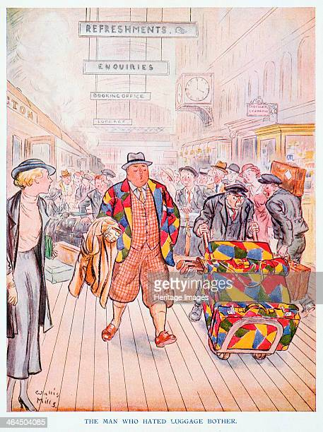 The man who hated luggage bother 'Punch' magazine ''cartoon British May 1934