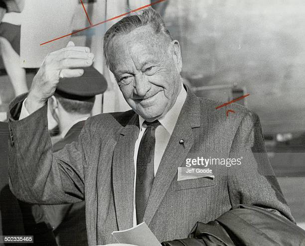 The man who ringed the world with hotels; 82-year-old Conrad Hilton; arrived in Toronto yesterday for a quick; one-day trip that could result in a...
