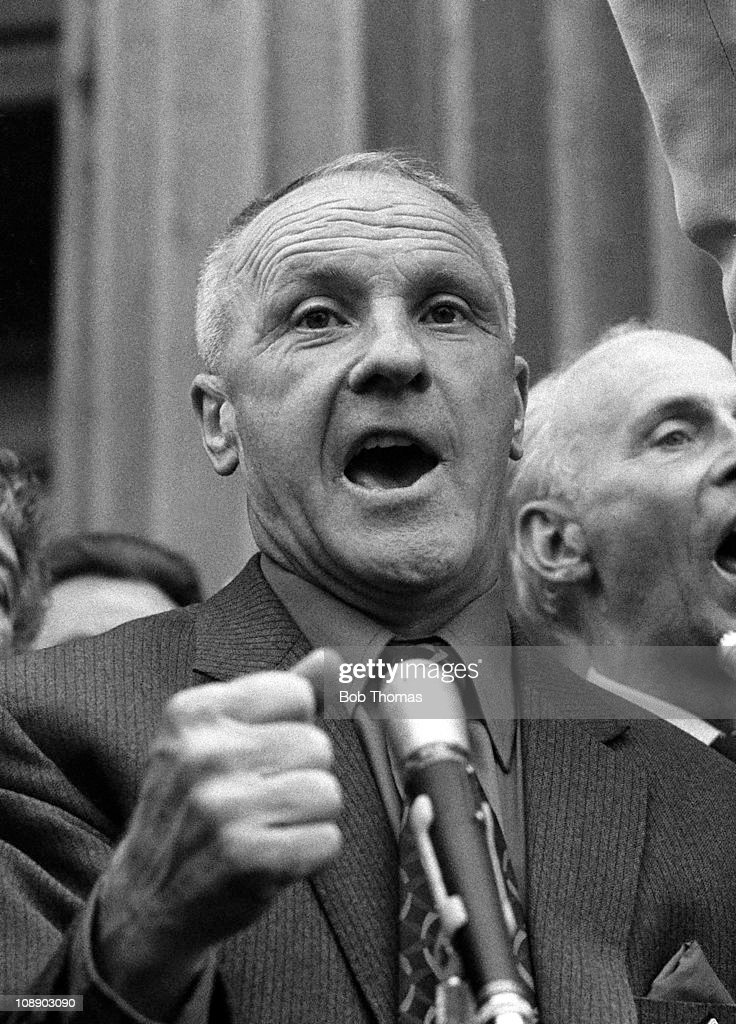 The manager of Liverpool Bill Shankly celebrates their League and European success as he addresses the people of Merseyside, April 1973.