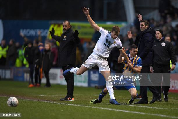 The managers react as Wolverhampton Wanderers' English defender Ryan Bennett and Shrewsbury Town's English midfielder Shaun Whalley clash during the...