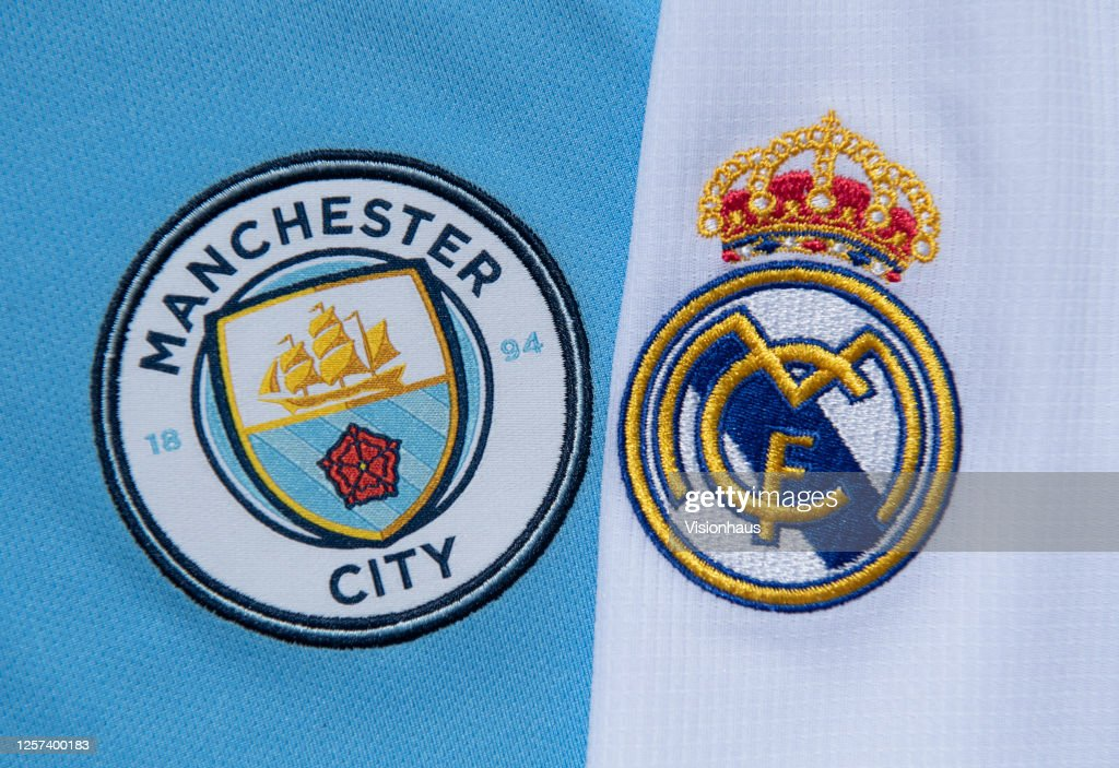 The Real Madrid and Manchester City Club Badges : News Photo