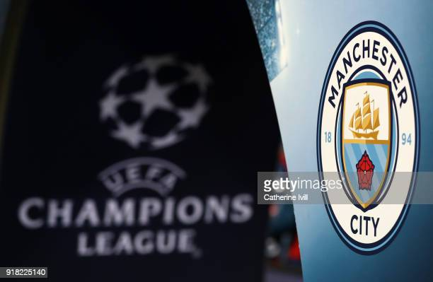 The Manchester City badge and UEFA logo can be seen prior to the UEFA Champions League Round of 16 First Leg match between FC Basel and Manchester...