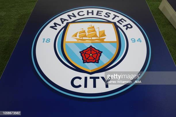 The Manchester City badge on a board during the Group F match of the UEFA Champions League between Manchester City and FC Shakhtar Donetsk at Etihad...