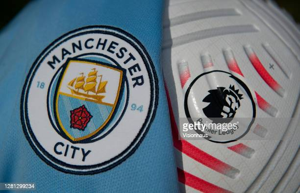 The Manchester City club badge with the official Nike Premier League match ball on October 20 2020 in Manchester United Kingdom