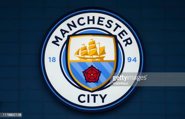 The Manchester City club crest displayed outside the ground before the UEFA Champions League group C match between Manchester City and Dinamo Zagreb...