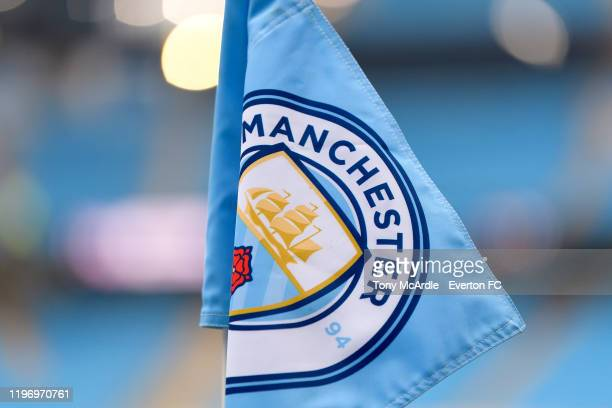 The Manchester City corner flag before the Premier League match between Manchester City and Everton at the Etihad Stadium on January 1 2019 in...