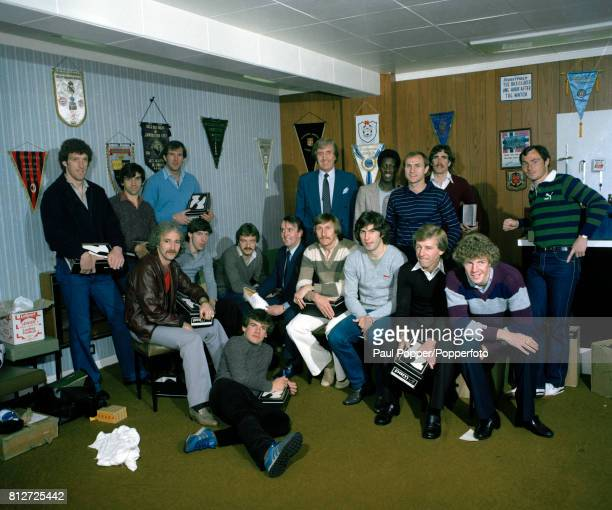 The Manchester City FA Cup Final squad at Maine Road in Manchester after receiving some sponsored footwear for the Cup Final at Wembley 5th May 1981...