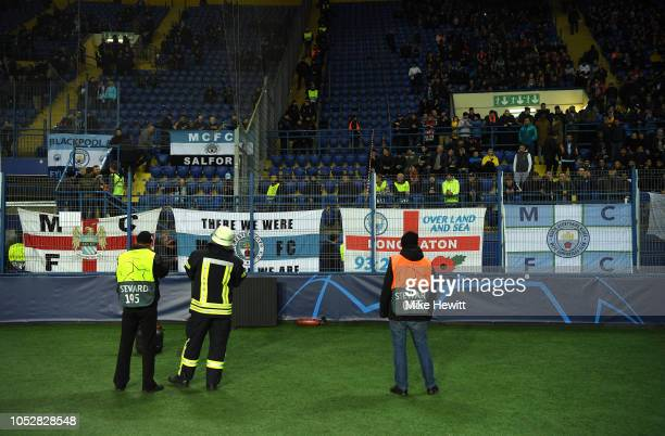 The Manchester City fans are seen inside the stadium prior to the Group F match of the UEFA Champions League between FC Shakhtar Donetsk and...