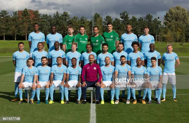 The Manchester City First Team Squad poses for a team photo at the City Football Academy on September 6 2017 in Manchester England Back row left to...
