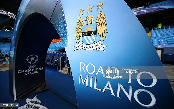 The Manchester City logo is displayed prior to the UEFA Champions League quarter final second leg match between Manchester City FC and Paris...