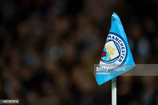 The Manchester City logo on the corner flag during the Group F match of the UEFA Champions League between Manchester City and FC Shakhtar Donetsk at...