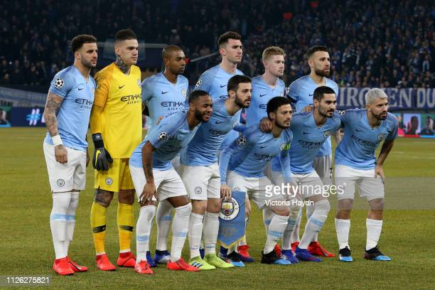 The Manchester City players line up for a team photo prior to the UEFA Champions League Round of 16 First Leg match between FC Schalke 04 and...