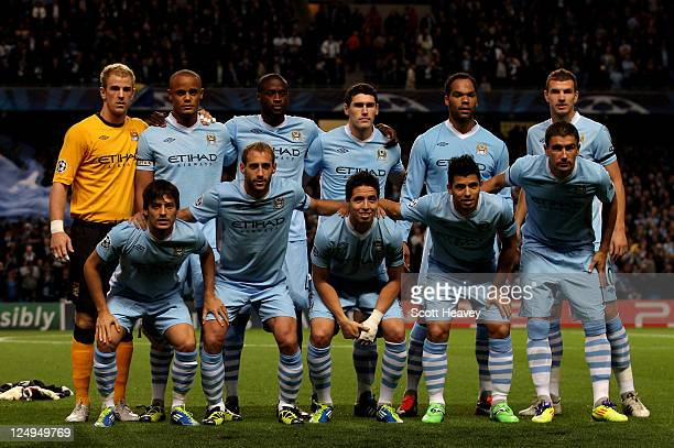 The Manchester City players line up for a team photo prior to the UEFA Champions League Group A match between Manchester City and SSC Napoli at the...