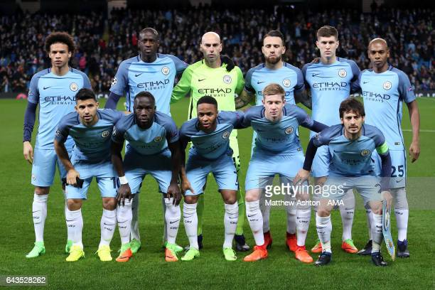 The Manchester City players line up for a team photo prior to the UEFA Champions League Round of 16 first leg match between Manchester City FC and AS...