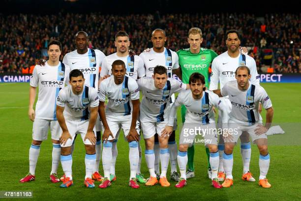 The Manchester City players pose for the cameras prior to kickoff during the UEFA Champions League Round of 16, second leg match between FC Barcelona...