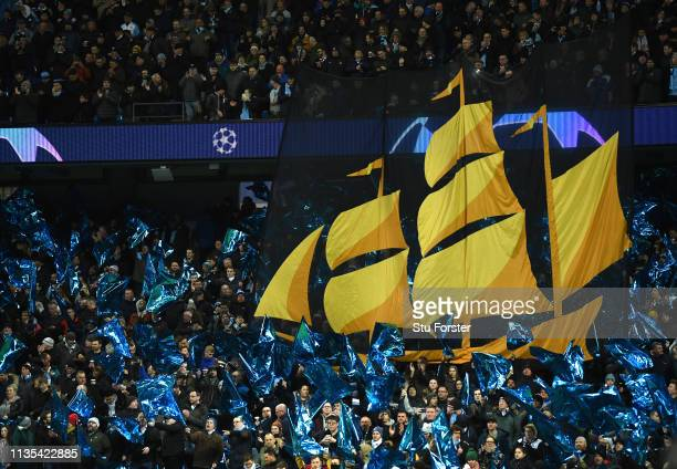 The Manchester City Ship sails across the fans sea of blue banners before the UEFA Champions League Round of 16 Second Leg match between Manchester...