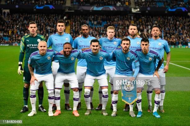 The Manchester City starting XI , Manchester City's Brazilian goalkeeper Ederson, Manchester City's Spanish midfielder Rodri, Manchester City's...