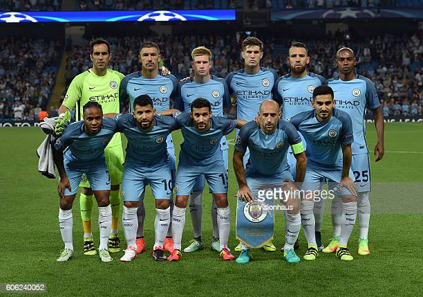 The Manchester City team before the UEFA Champions League match between Manchester City FC and VfL Borussia Moenchengladbach at Etihad Stadium on...