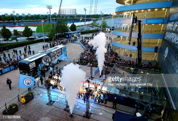 The Manchester City team bus arrives at the stadium prior to the UEFA Champions League group C match between Manchester City and Dinamo Zagreb at...