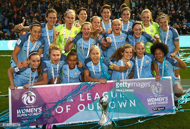 The Manchester City team celebrate after winning the Women's Super Leauge1 during Women's Super League1 match between Manchester City and Birmingham...