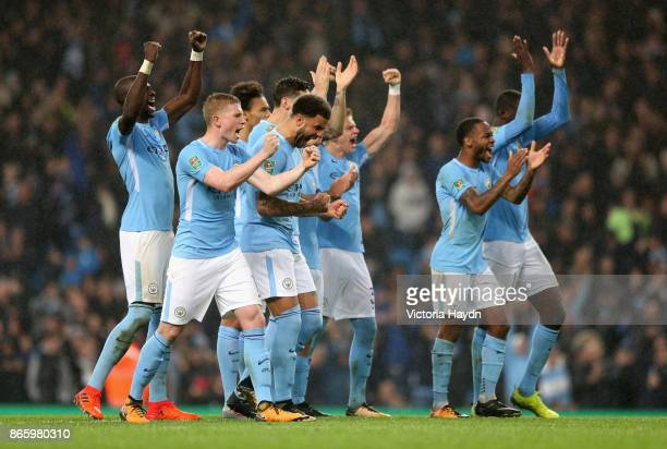 The Manchester City team celebrate during the penalty shoot out during the Carabao Cup Fourth Round match between Manchester City and Wolverhampton...