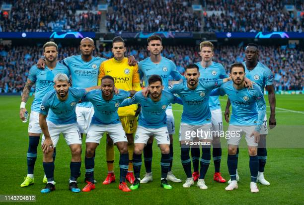 The Manchester City team group line up for pictures before the UEFA Champions League Quarter Final second leg match between Manchester City and...