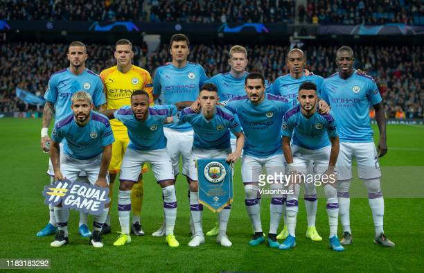 The Manchester City team line up before the UEFA Champions League group C match between Manchester City and Atalanta at Etihad Stadium on October 22,...