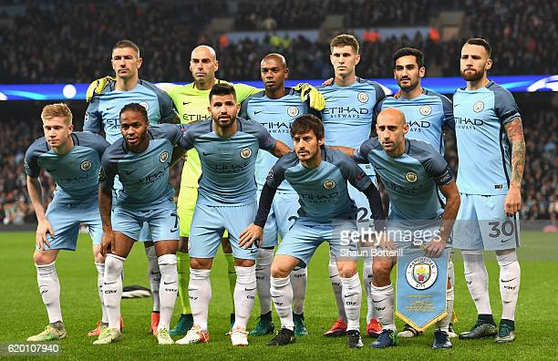 The Manchester City team line up for a photo prior to kick off during the UEFA Champions League Group C match between Manchester City FC and FC...