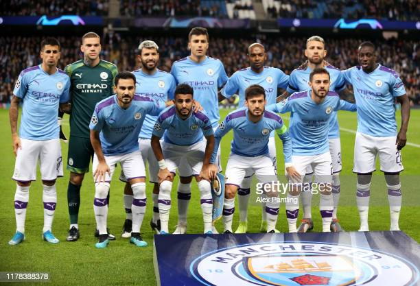 The Manchester City team line up for a photo prior to the UEFA Champions League group C match between Manchester City and Dinamo Zagreb at Etihad...