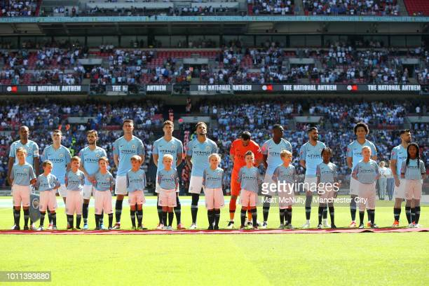 The Manchester City team line up prior to the FA Community Shield between Manchester City and Chelsea at Wembley Stadium on August 5 2018 in London...