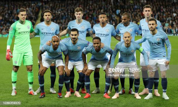 The Manchester City team line up prior to the Group F match of the UEFA Champions League between Manchester City and Olympique Lyonnais at Etihad...