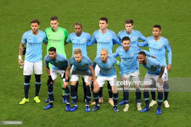 The Manchester City team line up prior to the Group F match of the UEFA Champions League between Manchester City and FC Shakhtar Donetsk at Etihad...