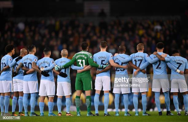 The Manchester City team line up prior to the Premier League match between Manchester City and Watford at Etihad Stadium on January 2 2018 in...