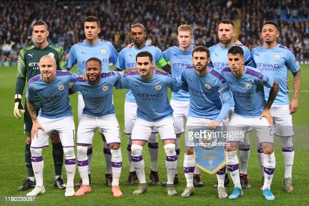 The Manchester City team line up prior to the UEFA Champions League group C match between Manchester City and Shakhtar Donetsk at Etihad Stadium on...
