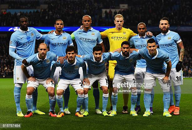 The Manchester City team line up prior to the UEFA Champions League round of 16 second leg match between Manchester City FC and FC Dynamo Kyiv at the...
