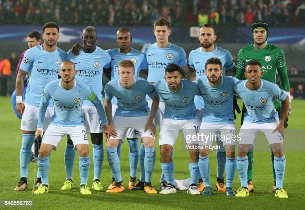 The Manchester City team line up prior to the UEFA Champions League group F match between Feyenoord and Manchester City at Feijenoord Stadion on...